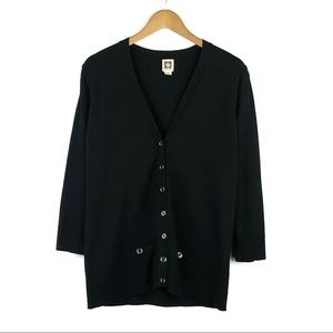 ANNE KLEIN | Black Button Down Cardigan Sweater